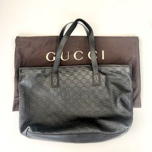 Gucci GG Black Leather Monogram Zipper Tote Bag